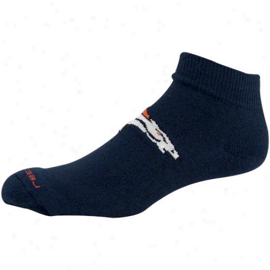 Reebok Denver Broncos Navy Blue Jwccquard Logo Ankle Socks