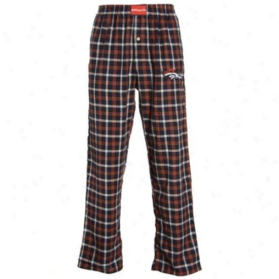 Reebok Denver Broncos Navy Blur Tailgate Plaid Pajama Pants