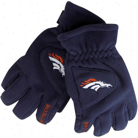 Reebok Denver Broncos Navy Blue Tec Touch Fleece Gloves