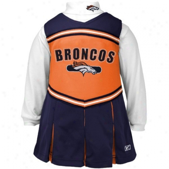 Reebok Denver Broncos Navy Blue Youth 2-piece Cheerleader Dress