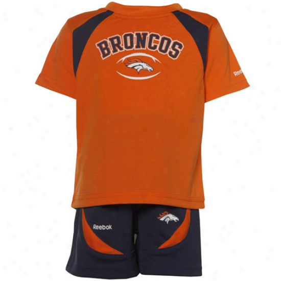 Reebok Denver Broncos Orange-navy Blue Infant Pair Piece T-shirt & Shorts Set