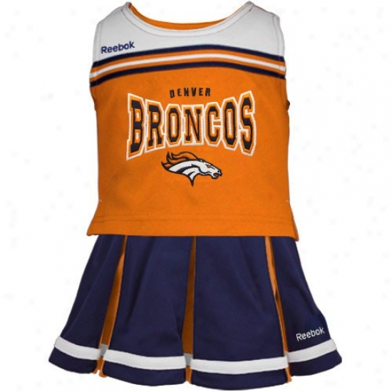 Reebok Denver Broncos Preschool Orange-navy Blue 2-piece Cheerleader Tank Top & Skirt