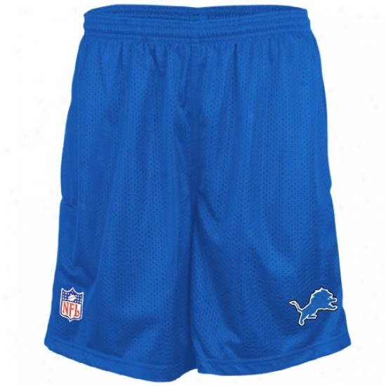 Reebok Detroit Lions Blue Coaches Mesh Shorts