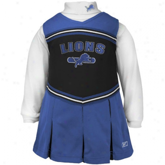 Reebok Detroit Lions Royal Blue Juvenility 2-piece Cheerleader Dress