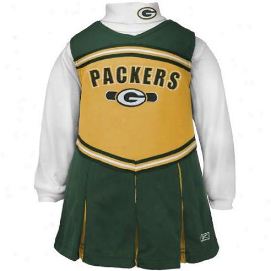 Reebok Green Bay Pafkers Green Girls 2-piece Cheerleader Dress