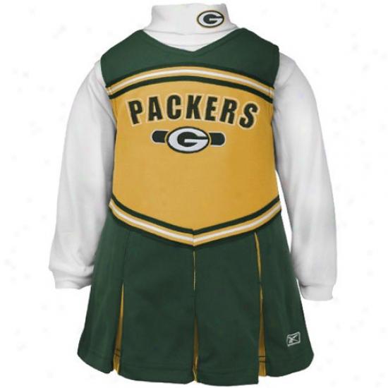 Reebok Green Bay Packers Green Infant 2-piece Cheerleader Dress