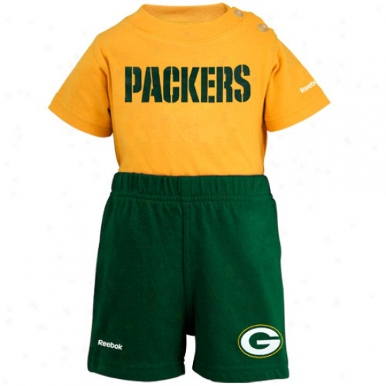 Reebok Green Bay Packers Newborn Gold-green Company Creeper & Shorts Set