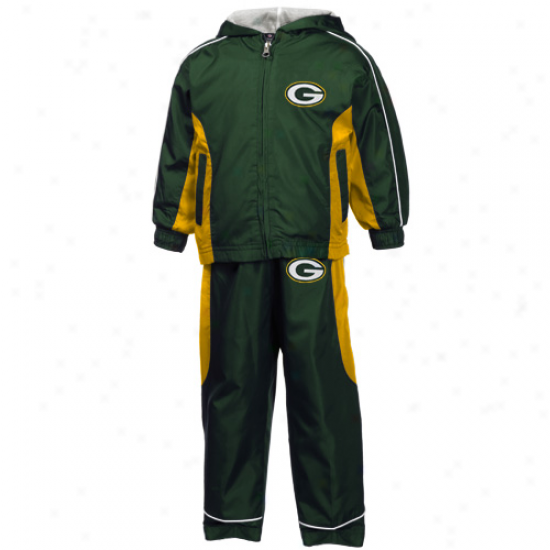 Reebok Green Bay Packers Toddler Green Full Zip Hoody Twine Jerkin & Pants Set