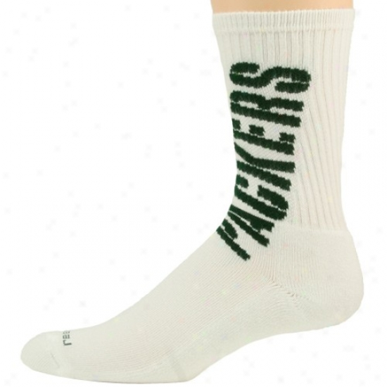 Reebok Green Bay Packers White Crew Socks