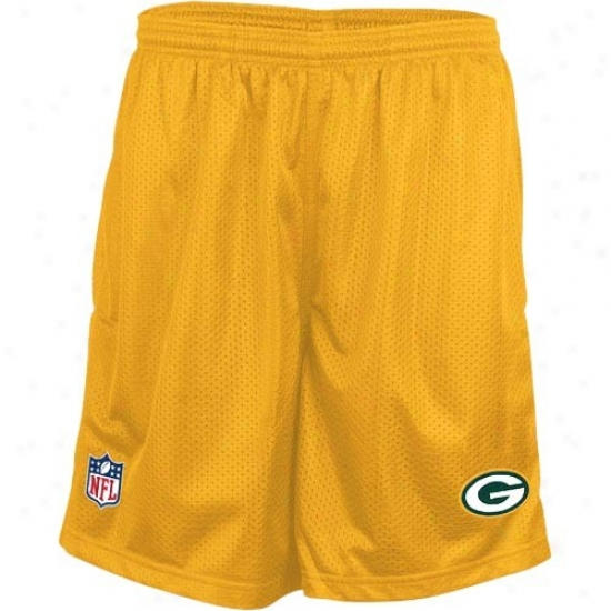 Reebok Green Bay Packers Yellow Coaches Mesh Shorts