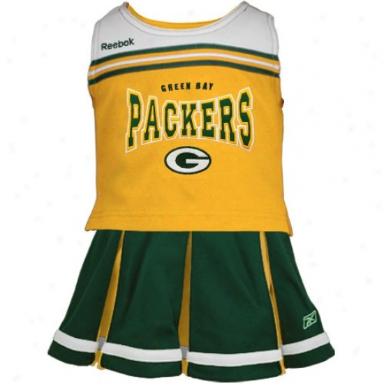 Reebok Green Bay Packers Youth Gold-green 2-piece Cheerleader Tank Top & Skirt