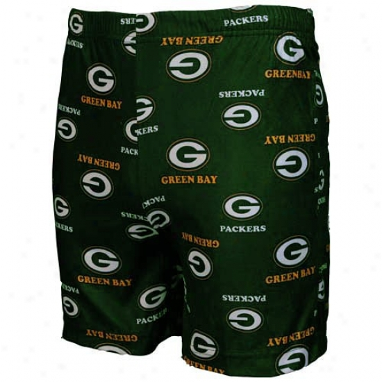 Reebok Green Bay Packers Youth Green Team Logo Boxer Shorts