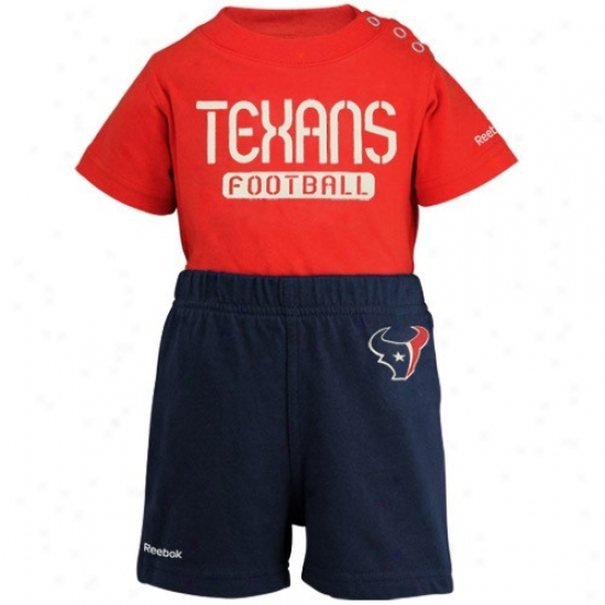 Reebok Houston Texans Newborn Red-navy Azure Crew Creeper & Shorts Set