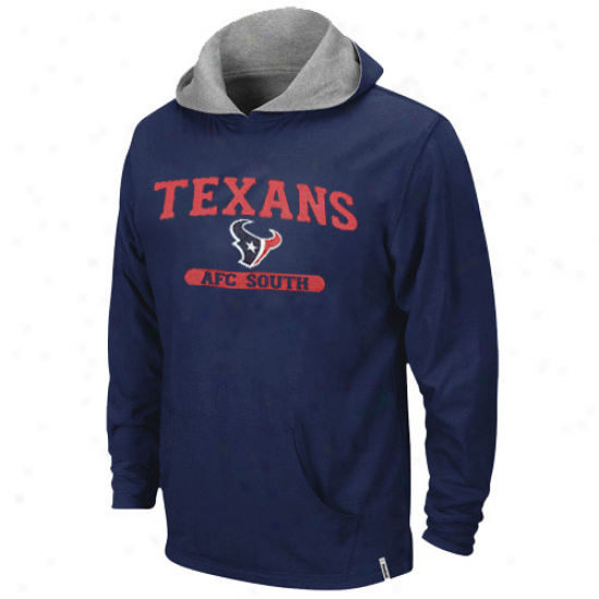 Reebok Houston Texans Youth Navy Blue-ash Reversible Pullover Hoody Sweatshirt