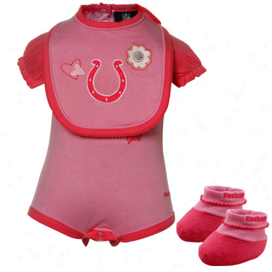 Reebok Indianapolis Colts Infant Girls Pink Three Piece Creeper Set