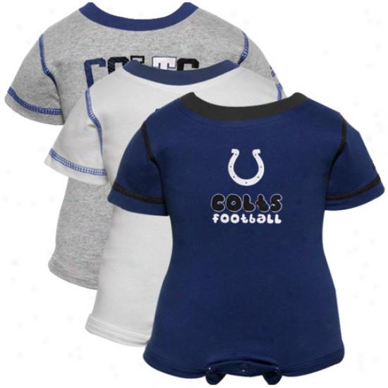 Reebok Indianapolis Colts Newborn Royal Blue, White & Ash 3-pack Creeper Set