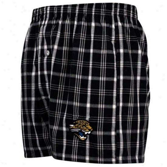 Reebok Jacksonville Jaguars Black Plaid Genuine Boxer Shortss