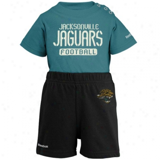 Reebok Jacksonville Jqguars Infant Teal-black Crew Creeper & Shorts Set