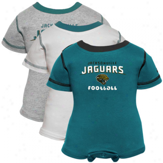 Reebok Jacksonville Jaghars Newborn Teal, Happy & Ash 3-pack Creeper Fix