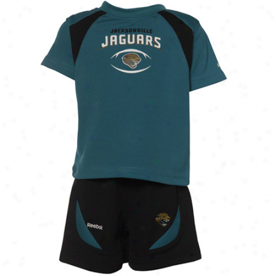 Reebok Jacksonville Jaguars Teal-black Babe Two Piece T-shkrt & Shorts Set
