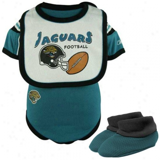 Reebok Jacjsonville Jaguars Teal Newborn 3-piece Ensnare Creeper Set