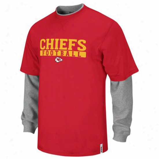 Reebok Kansas City Chiefs Youth Red-ash Splitter Double Layer T-shirt