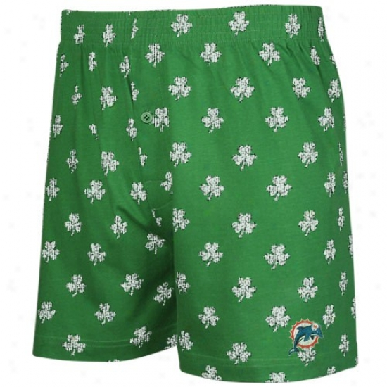 Reebok Miami Dolphins Kelly Gresn St. Patrick's Day Shamrock Boxer Shorts
