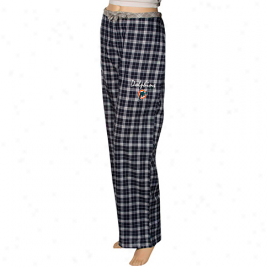 Reebok Miami Dolphins Ladies Navy Blue Plaid Heritage Woven Pajama Pants