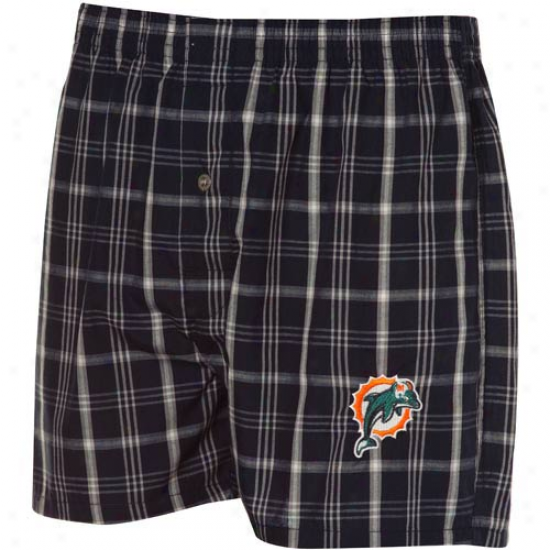 Reebok Miami Dolphins Navy Blue Plaid Genuine Boxer Shorts