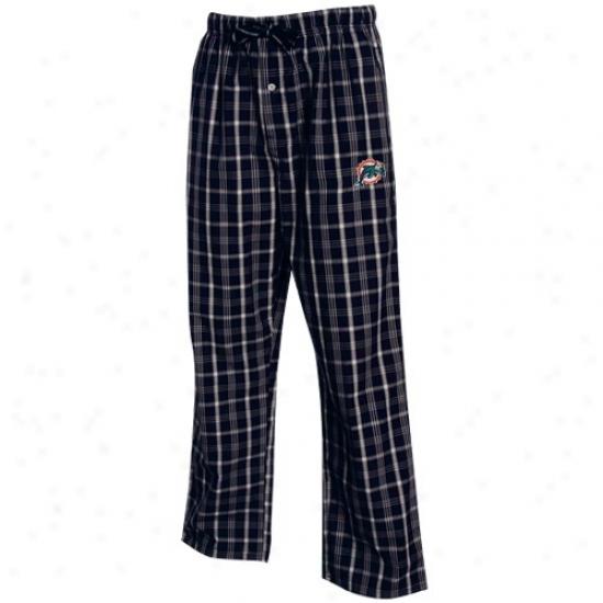 Reebok Miami Dolphins Navy Blue Plaid Genuine Pajama Pants