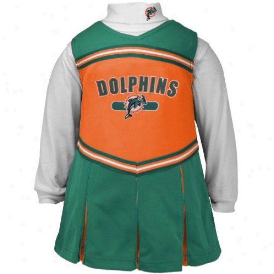 Reebok Miami Dolphins Orange Infant 2-piece Cheerleader Dress