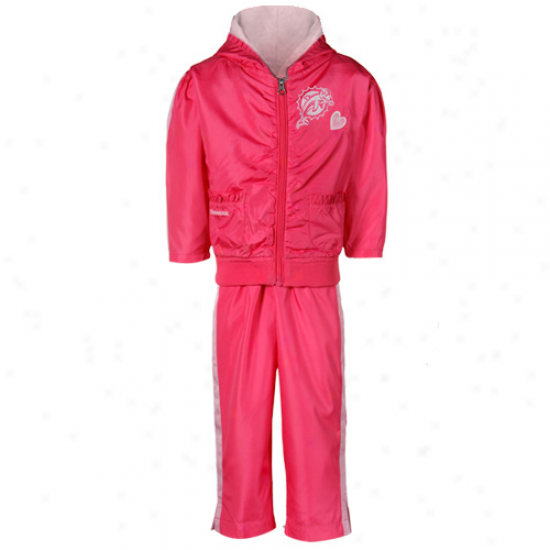 Reebok Miami Dolphins Toddler Girls Two-tone Pink Ruffled Jacket & Pants Windsuit