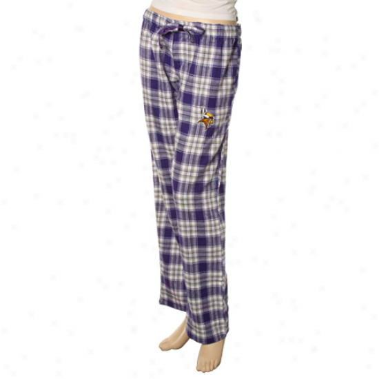 Reebok Minnesota Vikings Ladies Purple Plaid Harmony Flannel Pajama Pants