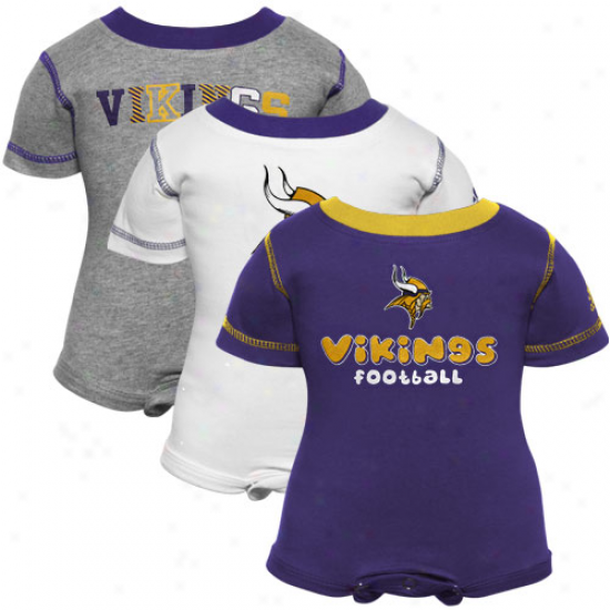 Reebok Minnesota Vikings Newborn Purple, White & Ash 3-pack Creeper Set