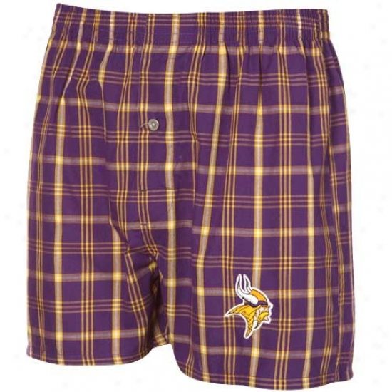 Reebok Minnesota Vikings Purple-gold Plaid Genuine Woven Boxer Shorts