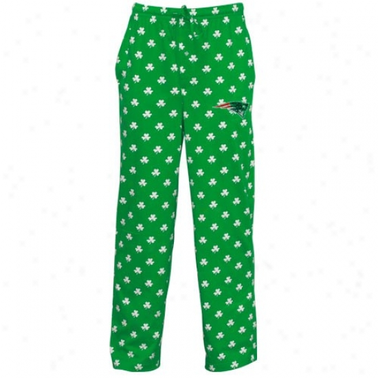 Reebok New England Patriots Kelly Green St. Patrick's Day Shamrock Pajama Pants