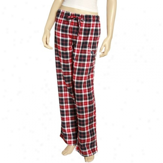 Reebok New England Patriots Ladies Navy Blue Plaid Roll Call Pajama Pants