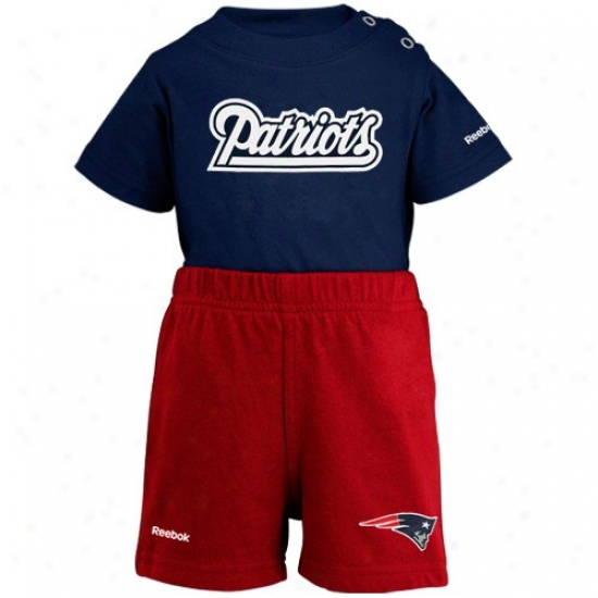 Reebok New England Patriots Newborn Navy Blue-red Crew Creeper & Shorts Set