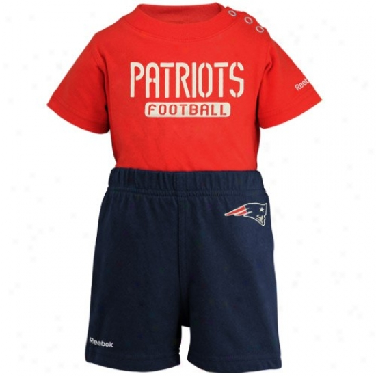 Reebok New England Patriots Newborn Red-navy Blue Crew Credper & Shorts Set