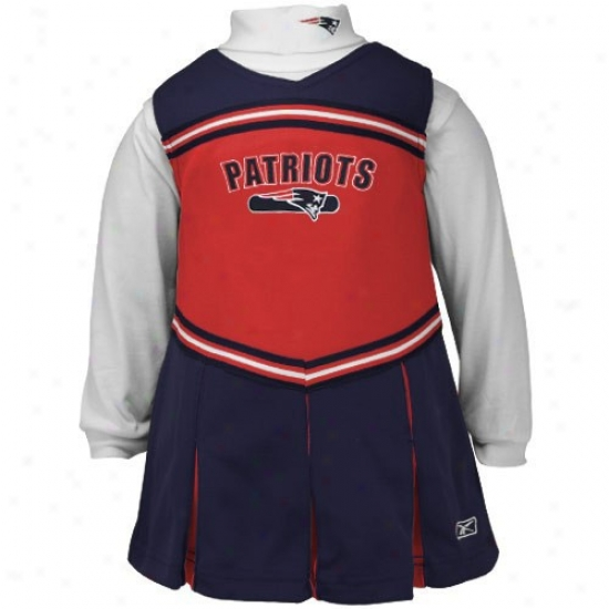 Reebok Nsw England Patriots Preschool Navy Dismal 2-piece Cheerleader Dress