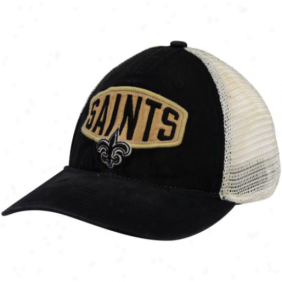Reebok New Orleans Saints Black-natural Retro Slouch Mesh Back Flex Fit Hat