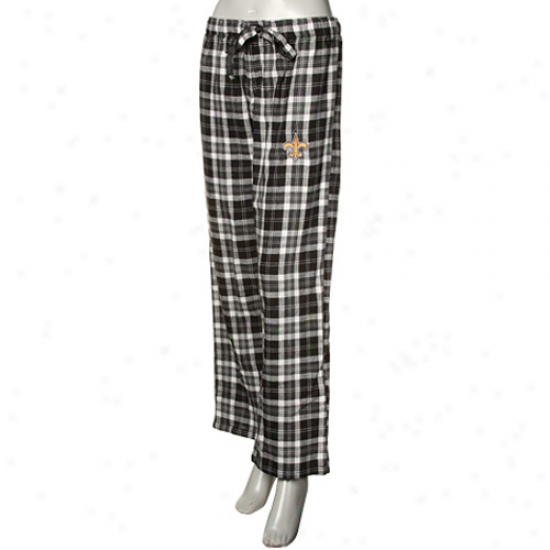 Reeebok New Orleans Saints Ladies Black Plaid Harmony Flannel Pajama Pants