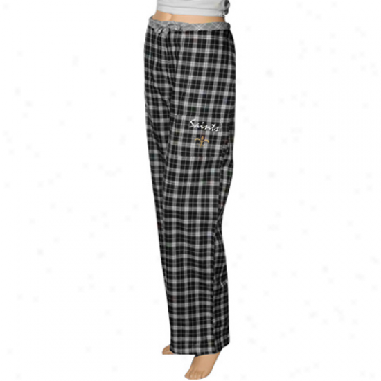 Reebok New Orleans Saints Ladies Black Plaid Heritage Wovem Pajamw Pants