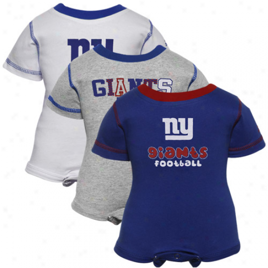 Reebok Novel York Giants Infant Royal Blue, White & Ash 3-pack Creeper Set