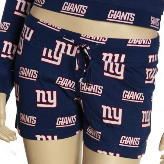 Reebok New York Giants Ladies Navy Blue T2 Pajama Shorts