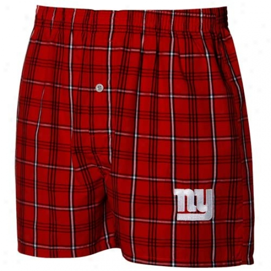 Reebok New York Giants Red Plaid Genuine Boxer Shorts