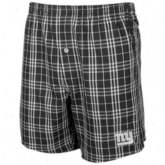 Reebok New York Giants Slate Plaid Event Boxer Shorts