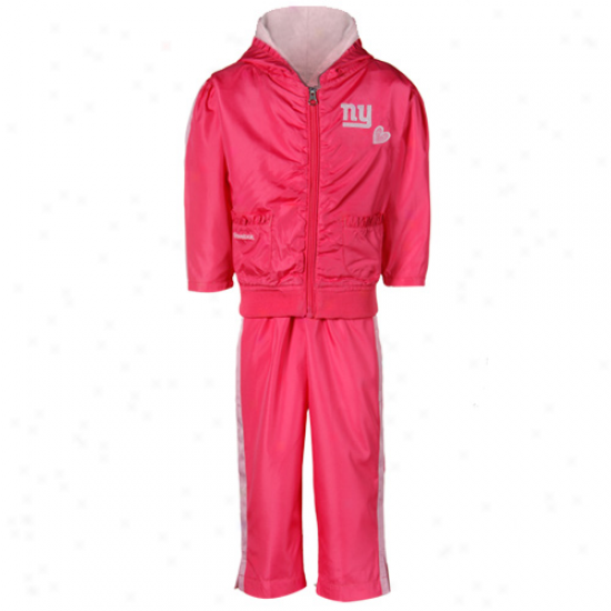 Reebok New York Giants Toddler Girls Two-tone Pink Ruffled Jacket & Pants Windsuit
