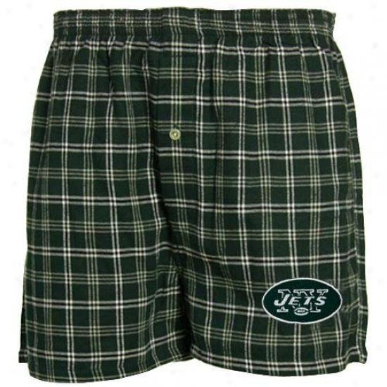 Reebok New York Jets Green Plaid Tailgate Boxer Shorts