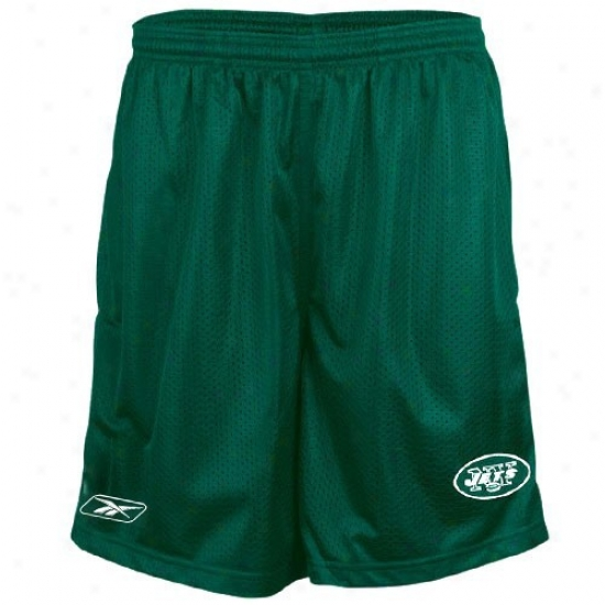 Reebok New York Jets Green Youth Coaches Mesh Shorts
